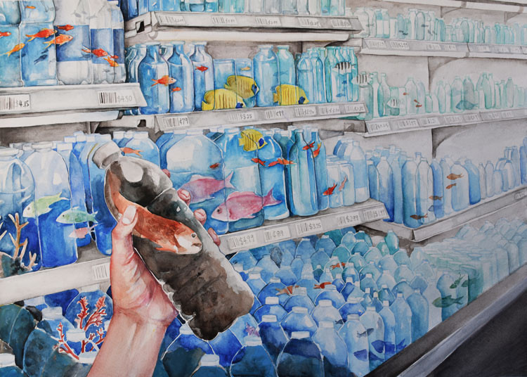 A drawing of plastic bottles on a store shelf with fish in them and one being held with very cloudy and polluted water.