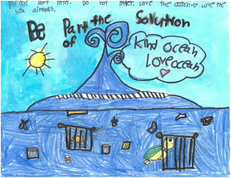 Child's drawing of waves with marine debris that says to be part of the solution and to love the ocean.