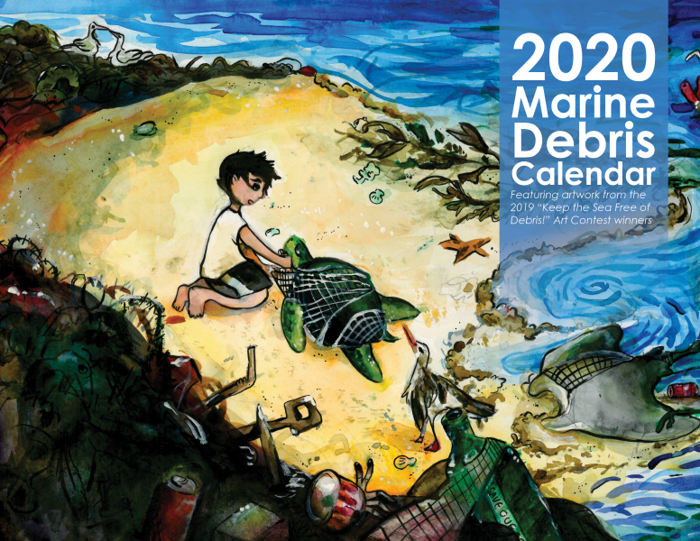 A drawing of a boy on a beach littered with marine debris. He is removing a net from around a sea turtle.