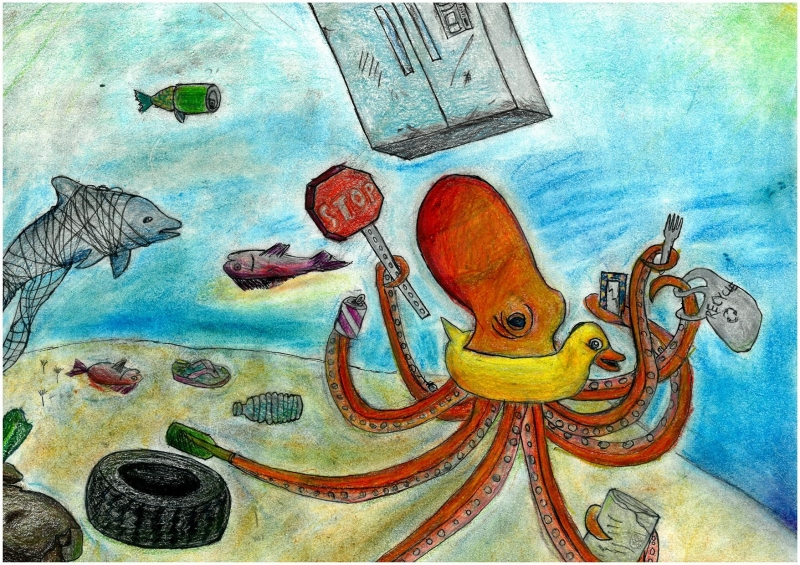 Octopus surrounded by marine debris, artwork by Yufei F. (Grade 5, Michigan).