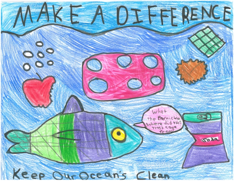 "Child's drawing saying ""make a difference"""