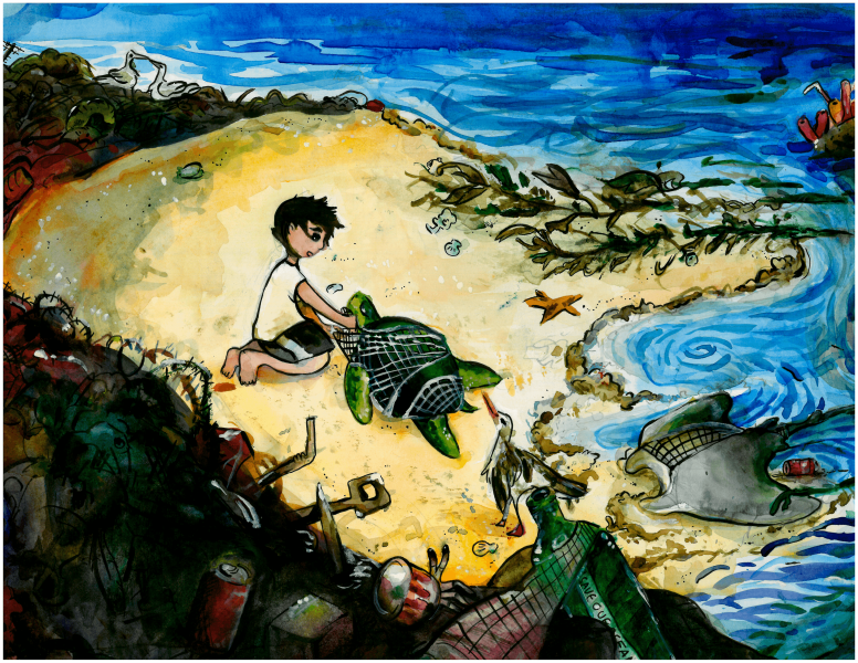 Student artwork submission of turtle entangled in a net on the beach.