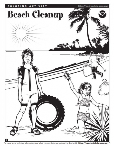 A drawing of three people cleaning up trash on a beach (Photo: NOAA).