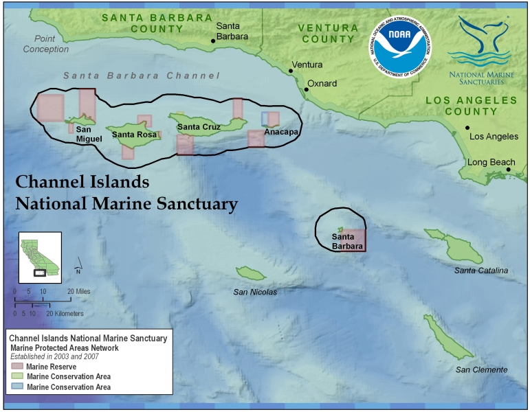 Map of the Channel Islands National Marine Sanctuary.