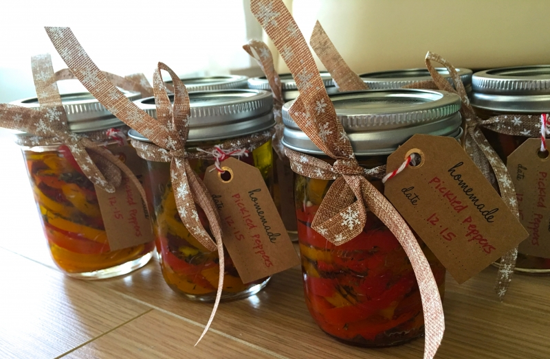 Homemade jars of pickled peppers.