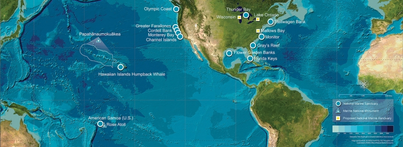 A map view of all national marine sanctuaries and monuments.