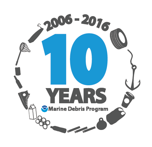 The NOAA Marine Debris Program 10 year anniversary identity marker.