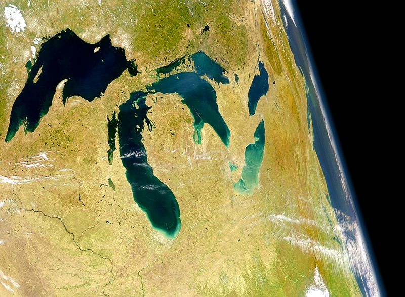 A satellite image map of the Great Lakes from space.