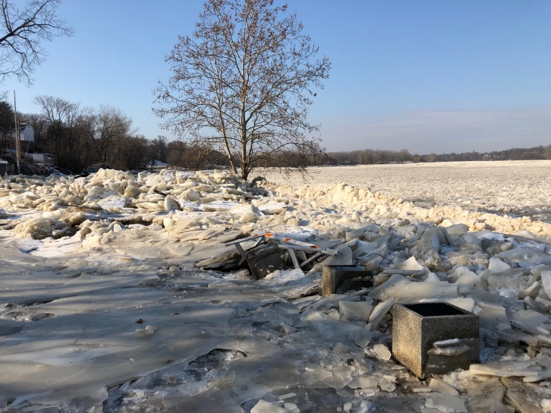 Marine debris in an ice jam.