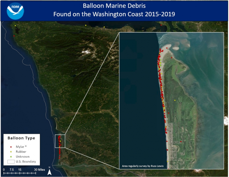 "A map overview of the Washington coast depicting location and balloon type. Red dots represent Mylar® balloons, yellow dots represent rubber balloons, and green is an ""unknown"" balloon material type."
