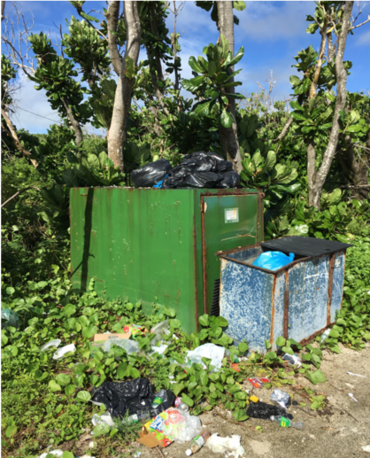 Overflowing trash in dumpsters on the island of Saipan.