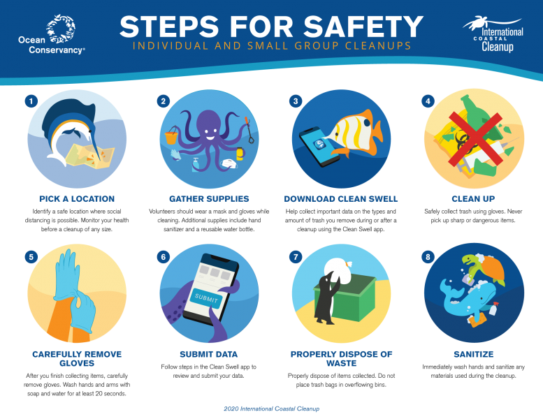 A graphic showing safety tips for solo and small group cleanups.