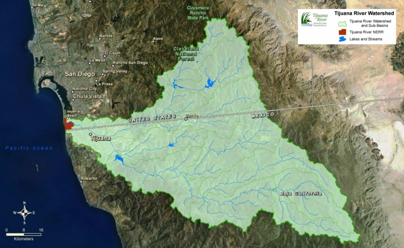 A map shows the Tijuana River watershed across the United States and Mexico border.