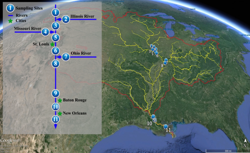 A map overview of all 11 sampling locations that range from Missouri to New Orleans.