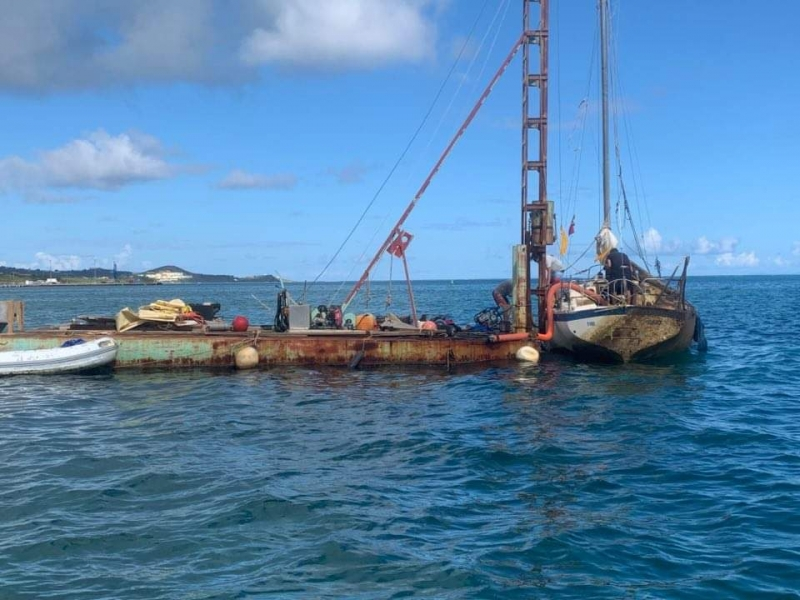 A vessel being removed at St Croix, U.S. Virgin Islands.