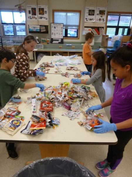 Students around a table sorting waste.