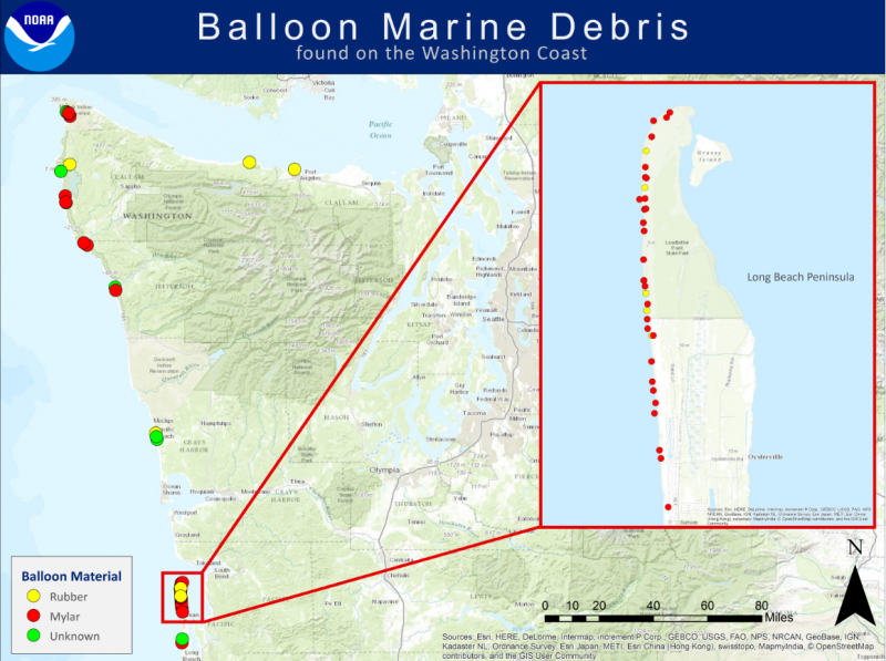 A map depicting balloon marine debris reported to the Marine Debris Program.