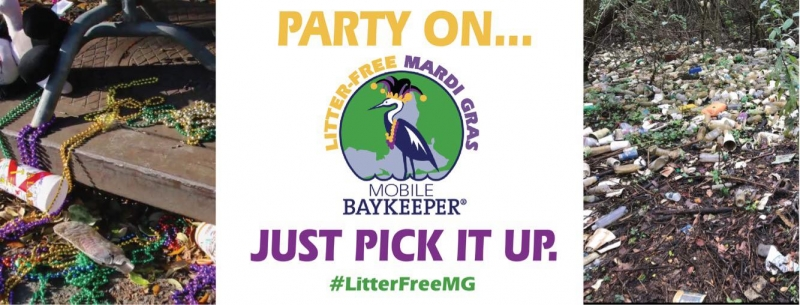 "Images of debris alongside the ""Litter-free Mardi Gras"" campaign logo of a water bird with a Mardi Gras hat on and the text ""Party On... Just Pick It Up."""