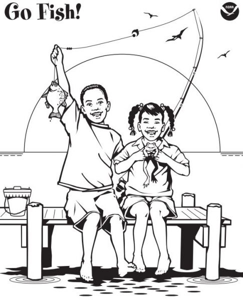 Graphic of children fishing off a dock.