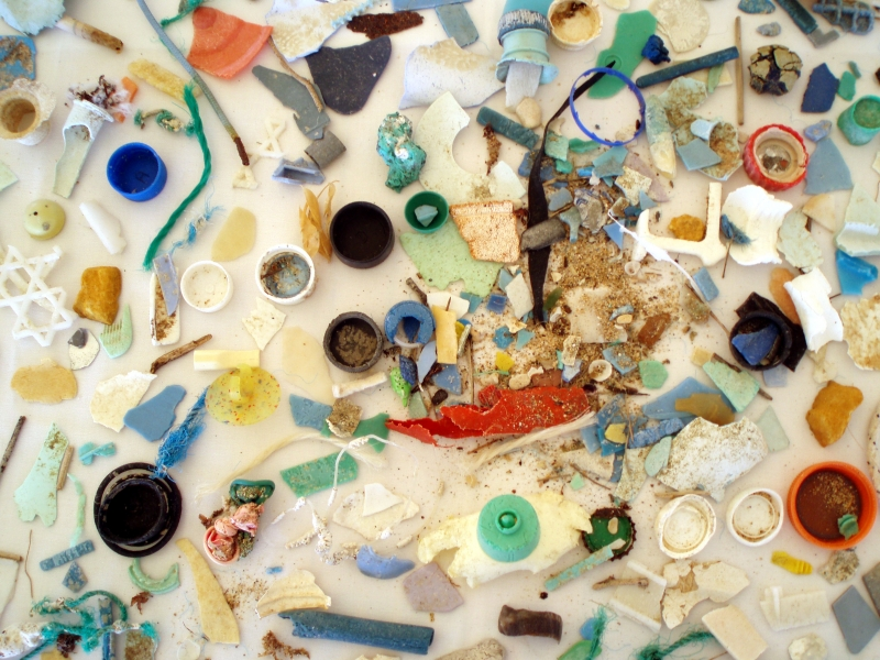 A close up image of colorful microplastics.