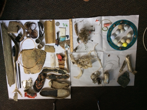 A pile of marine debris collected by students during the From Shore to State House college course.