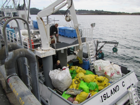 A boat with bags of debris on it.