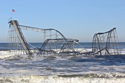 A roller coaster in the surf.