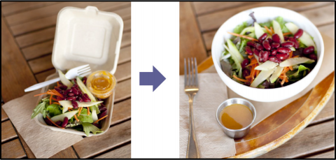 A meal in disposable containers and the same meal in reusable containers.