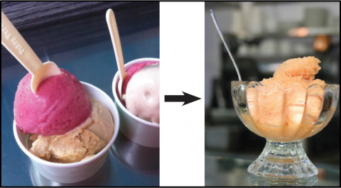 Gelato in disposable cups with plastic spoons and gelato in reusable cups with metal spoons.