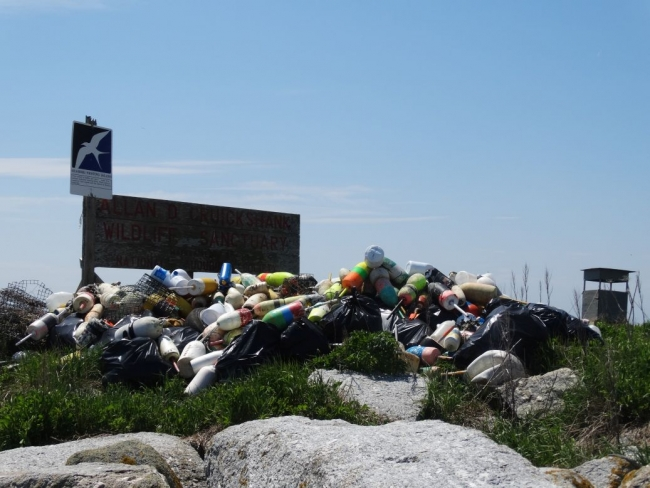 "Plastic debris and other trash in a pile near a sign reading ""Allan D. Cruickshank Wildlife Sanctuary""."