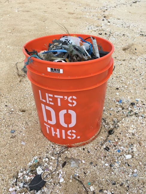 A bucket of debris collected during a 2016 ICC event in Hawaii.
