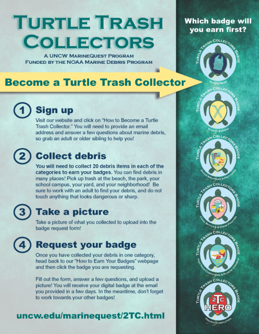 "A Turtle Trash Collectors poster that outlines how someone can become a ""turtle trash collector"" themselves."