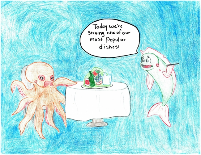 An octopus and a dolphin sitting at a table eating trash.