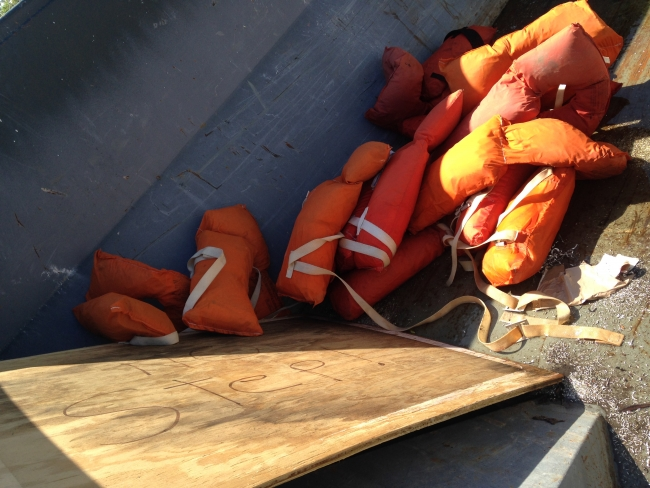 A pile of life preservers.