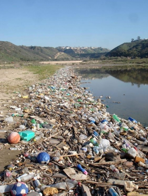 A littered shoreline in Goat Canyon Sediment Basin in the Tijuana River Valley.