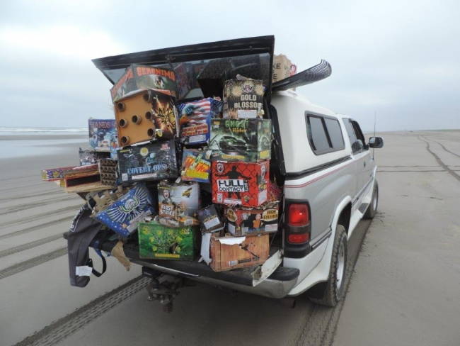 A truck filled with firework debris.