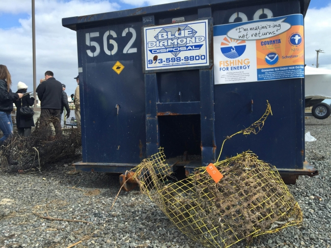 One of the Fishing for Energy bins to collect and recycle retrieved derelict crab pots.