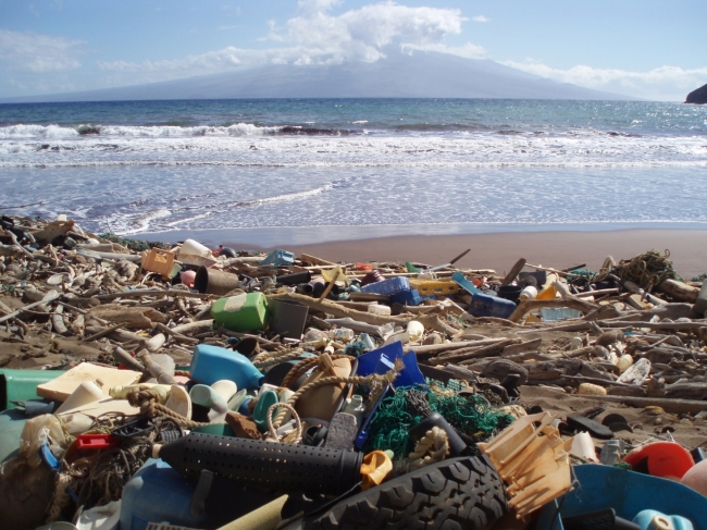 Marine debris, including plastic detergent bottles, crates, buoys, combs, and water bottles blanket Kanapou Bay, on the Island of Kaho'olawe in Hawaii. This region is a hot-spot for marine debris accumulation. Because of its remote location, removal is difficult, resulting in beaches that look more like a landfill.