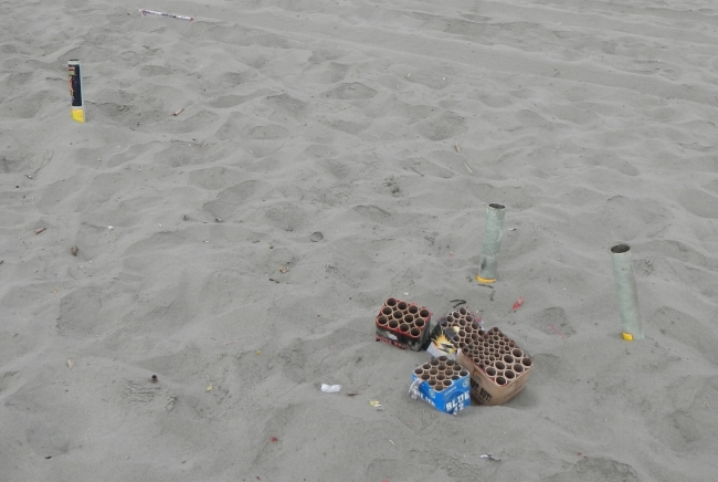 Firework debris left on the beaches after a Fourth of July Celebration.
