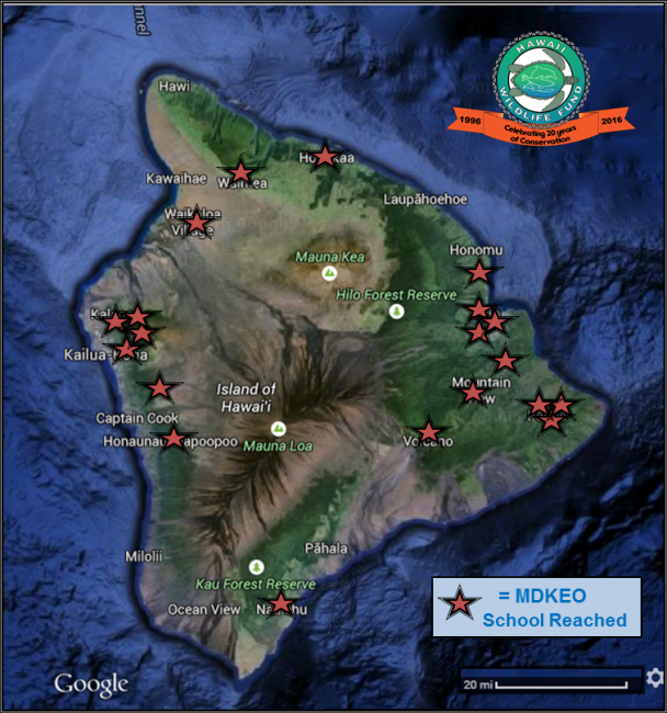 A map of Hawaiʻi Island showing locations of schools that were reached.