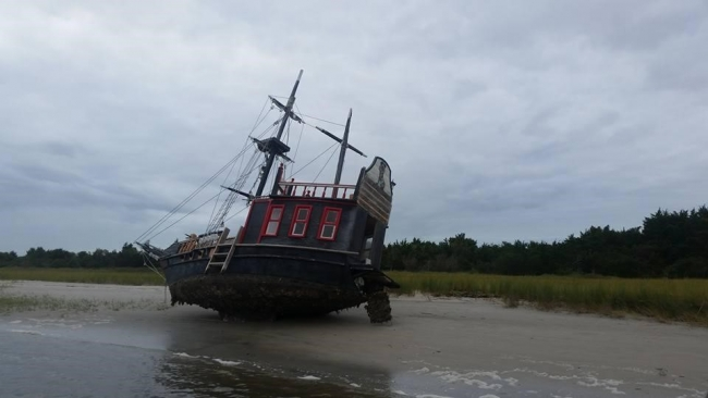 Pirate adventure vessel grounded by hurricane Matthew in the Rachel Carson Reserve, near Beaufort, NC.