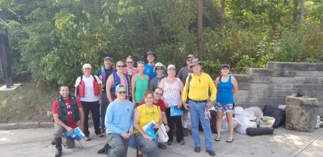 River cleanup volunteers.