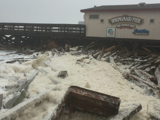 Damage to Springmaid Pier, just outside of Myrtle Beach, SC, due to hurricane Matthew.