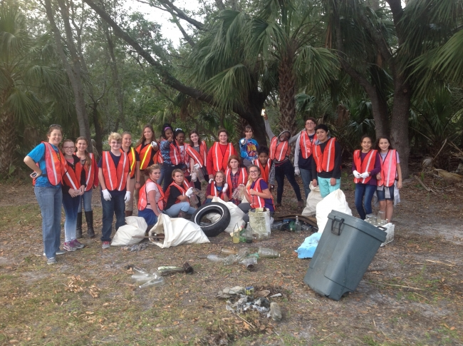 The Glynn Middle School Salt Marsh Soldiers, after their first cleanup of the year.