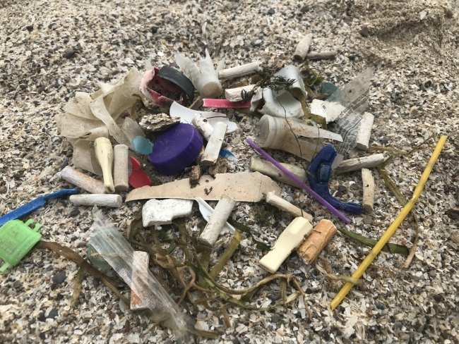 Small debris items on the beach including plastic bottle caps and cigarette butts.