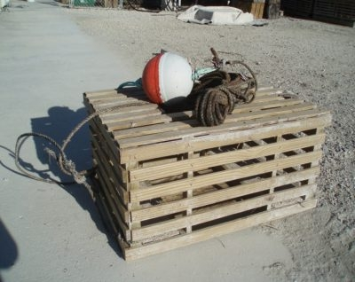 An example of a wooden lobster trap used in the Florida Keys.