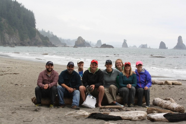"The ""surveypalooza"" team poses on Third Beach, WA, after completing their surveys."