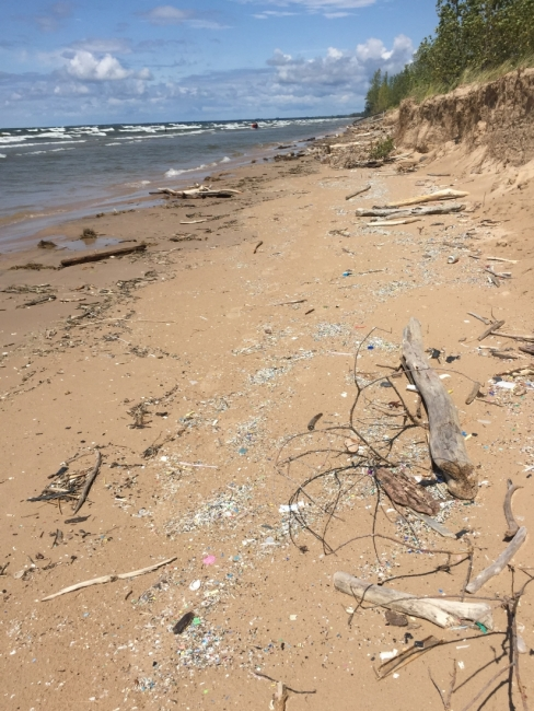 Microplastics spread out along a stretch of shoreline of the Great Lakes.
