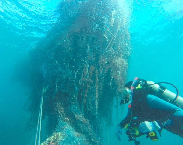 A diver next to a large net.