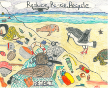 A child's drawing of a clean versus dirty beach.